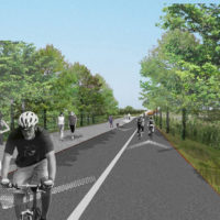 Rendering: Paths for walking, jogging, and biking