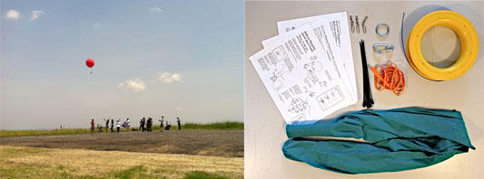 Left: Citizen Scientists use aerial balloon photography at Freshkills Park Right: Tools used for aerial balloon photography (photo courtesy of Public Lab)