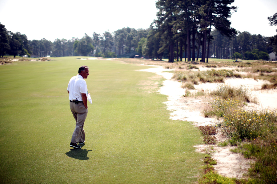 Bob Farren, director of grounds for the Pinehurst Resort, on the restored No. 2 course. Photo: Travis Dove for The New York Times