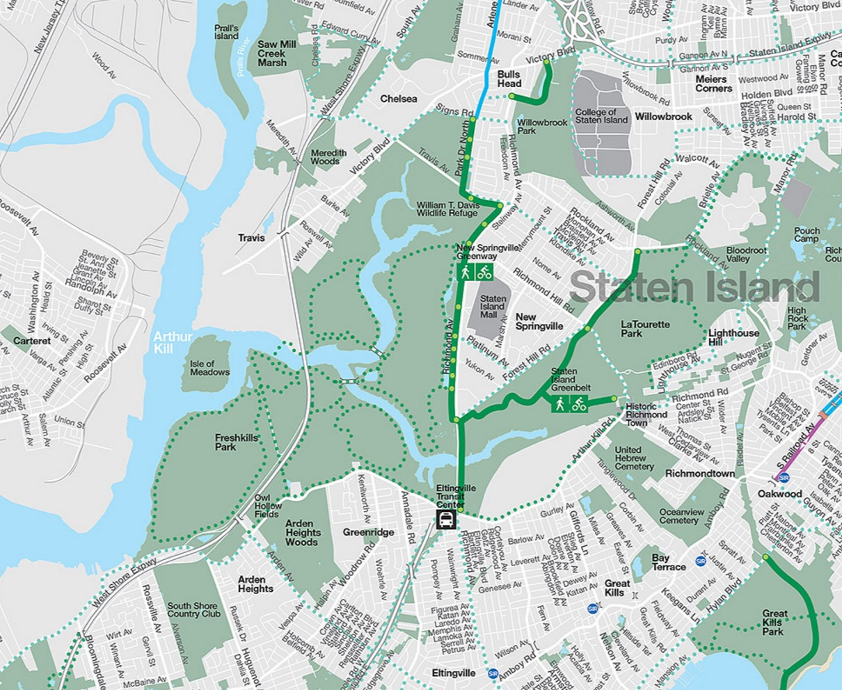 Bike New York Map.2016 Nyc Bike Map Includes The New Springville Greenway