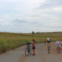 Visitors walked and biked across normally closed sections of the landfill-to-park project at Discovery Day.