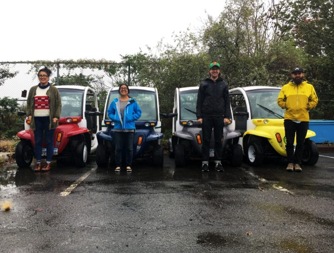 Slanted Studios & MTN GODS team members with Freshkills Park's fleet of small electric vehicles.