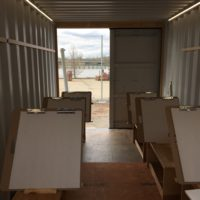 The 20-foot shipping container has been fitted as a drawing studio by artist James Powers